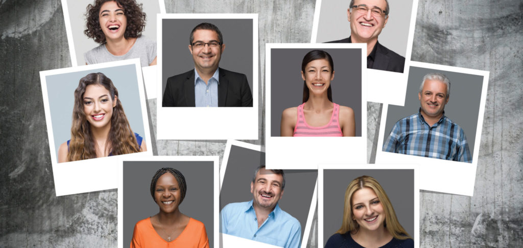 Multi-Ethnic Group Of People Smiling Portraits